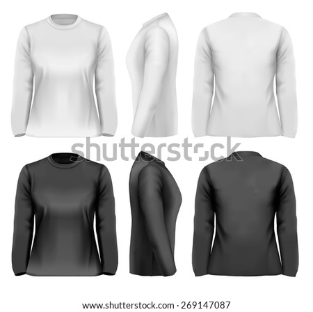 Long sleeved female t-shirts with sample text space.  - stock photo