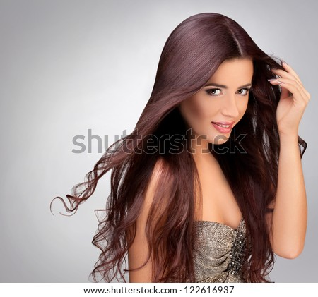 Long Smooth Hair. Portrait of Beautiful Brunette Woman . Good quality retouching. - stock photo