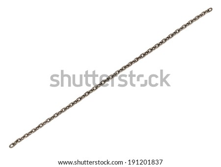 long  steel-wire chain, on white background; isolated - stock photo