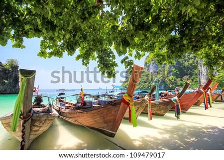 Long tail boat at Thailand - stock photo