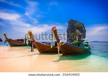 Long tail boat at the beach, Krabi, Thailand - stock photo