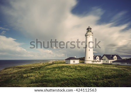 long time exposure of Lighthouse Hirtshals, Denmark, Europe  - stock photo