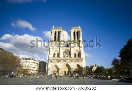 Long- Time Exposure photography of the church Notre Dame - Paris, France - stock photo