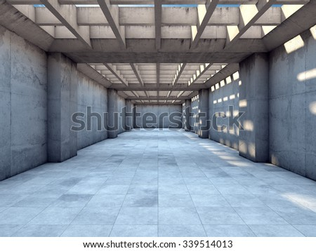 Long tunnel of concrete illuminated by sunlight - stock photo