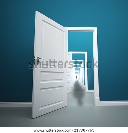 Long way of opened doors with man at the end - stock photo