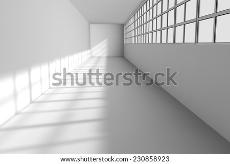 Long white corridor with windows - stock photo