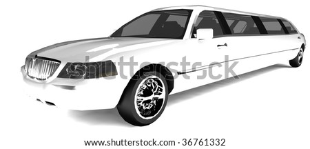 Long white limousine - stock photo