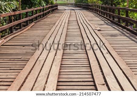 Long wooden bridge at Sangkhlaburi kanchanaburi Province Asia Thailand  - stock photo