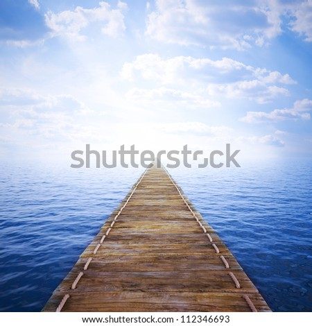 long wooden jetty over sea. 3d image. - stock photo