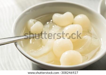Longan in syrup , thai dessert. - stock photo