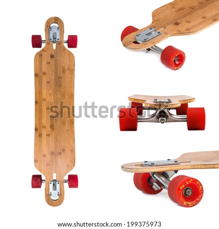 Longboard skateboard set isolated on a white background.  - stock photo