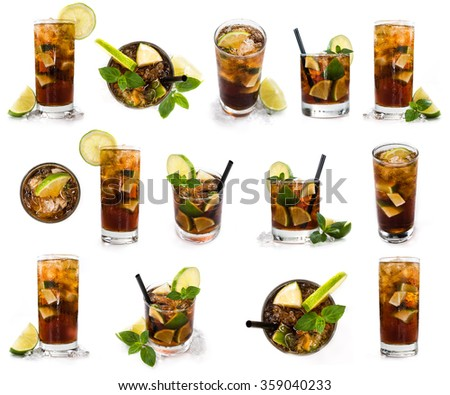 Longdrinks (Cuba Libre) isolated on white background as high resolution collage - stock photo