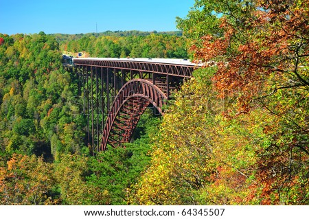 Longest Suspension bridge in the united states new river gorge bridge west virginia - stock photo
