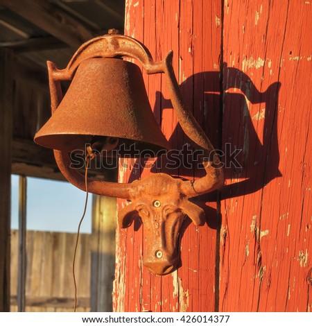 longhorn steer bell holder - stock photo
