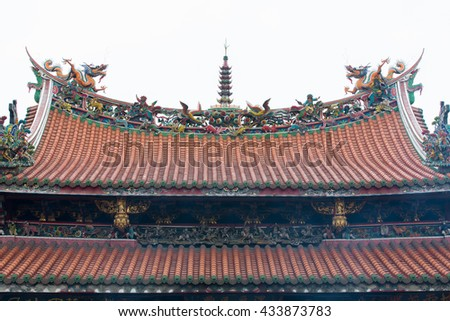 Longshan Temple is one of the famous Buddhist temple in Taipei, Taiwan - stock photo