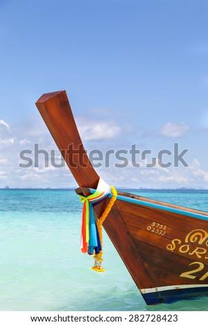 Longtail boat at Phi Phi Don Island Thailand - stock photo
