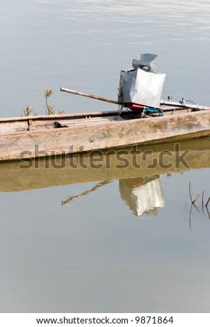 longtail boat motor - stock photo
