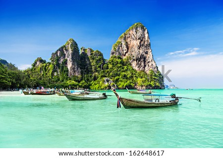 Longtale boats at the beautiful beach, Thailand - stock photo