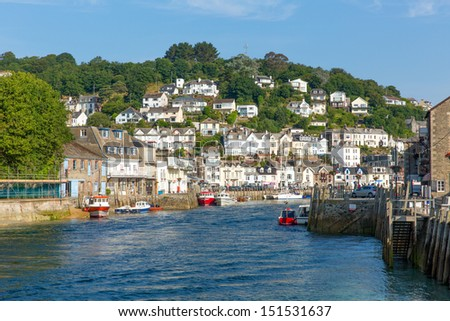 Looe Cornwall England with blue sea on a sunny summer day - stock photo