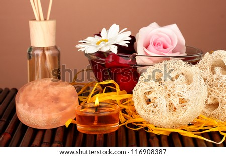 Loofah on color background - stock photo