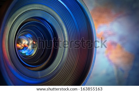 look at this world (via lens) - stock photo