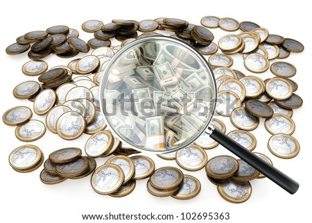 look at your success in business loupe with money isolated on white (version 1) - stock photo