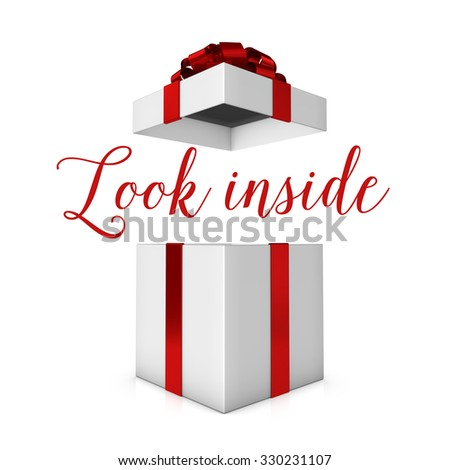 look inside red and white present - stock photo