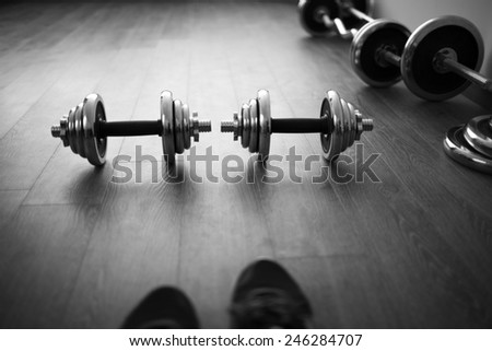 look on fitness equipment like own eyes (black and white) - stock photo