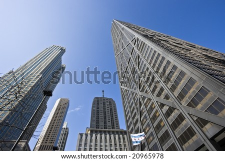 Look Up - skyscrapers in Chicago - stock photo