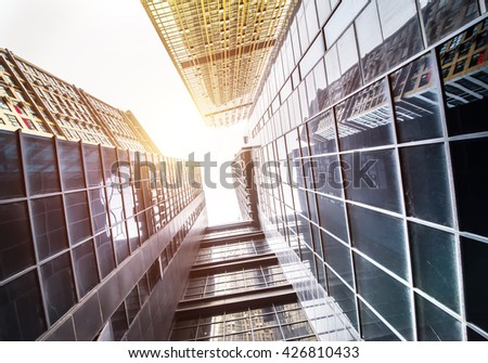 look up to the sky with skyscrapers - stock photo