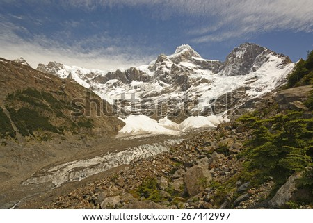 Looking a the Glaciers and Mountains of the French Valley in Torres del Paine National Park in the Patagonian Andes of Chile - stock photo