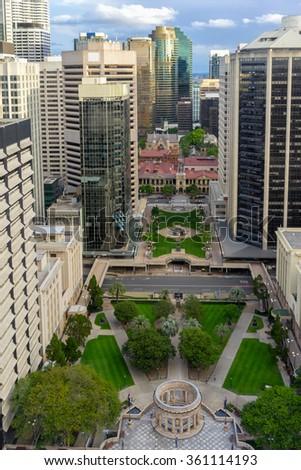 Looking across Brisbane's Anzac Square - stock photo
