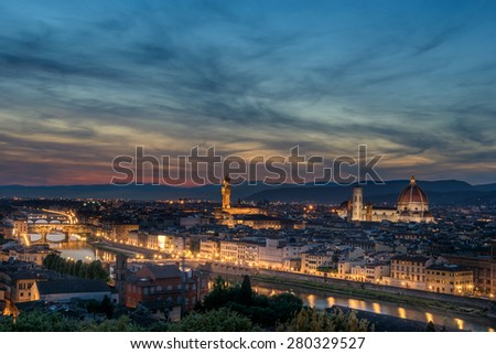 Looking across Florence to the Duomo Santa Maria Novella - stock photo