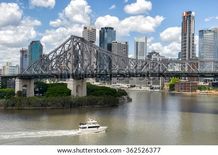 Looking across the Brisbane River to the city of Brisbane - stock photo