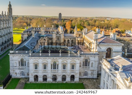 Looking across the rooftops of Cambridge to Clare College - stock photo