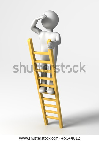 Looking ahead (3D person at top of Ladder looking far) - stock photo