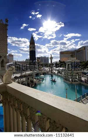 Looking at Mirage through Venetian Hotel in Las Vegas - stock photo