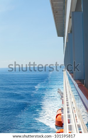 Looking at the Caribbean Sea from the side balcony view. - stock photo