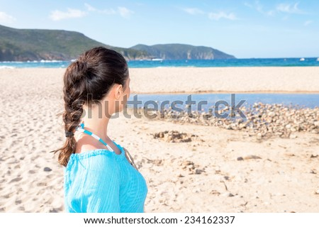 Looking at the sea, d' Arone beach, Corscia France - stock photo