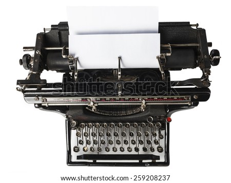 Looking down at an old typewriter. - stock photo