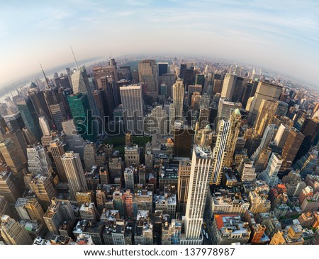 Looking down at New York City, North direction to the Central Park, wide angle - stock photo
