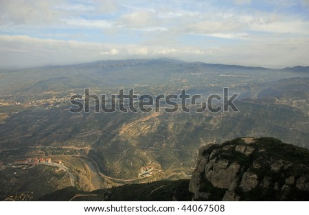 Looking Down From Montserrat Spain - stock photo