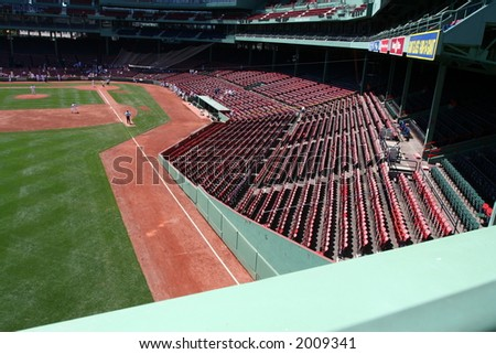 Looking down from the Green Monster seats at Fenway Park - stock photo