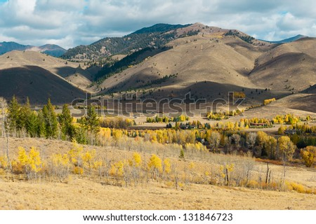 Looking down into a valley near Sun Valley in the fall - stock photo