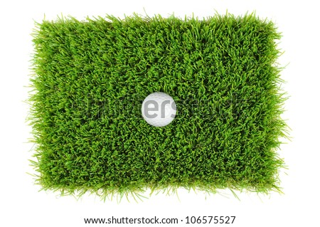 looking down on a golf ball in the grass - stock photo
