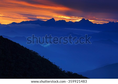 Looking down on Sierra Nevada de Santa Marta, high Andes mountains of the Cordillera, Paz, Colombia - stock photo