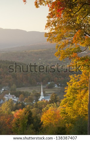 Looking down on Stowe Village during the fall foliage, Stowe Vermont, USA - stock photo