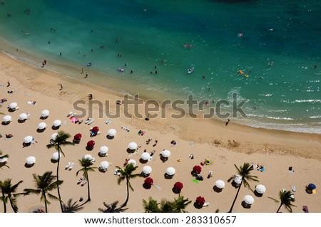 Looking down on Waikiki Beach.  Oahu, HI.  - stock photo