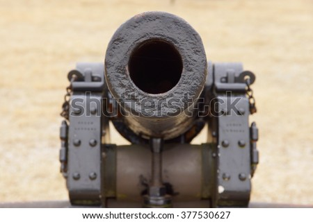 Looking down the barrel of a civil war cannon                       - stock photo