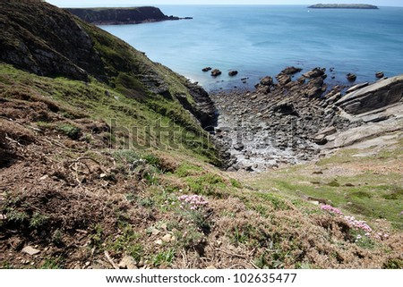 Looking down the cliff edge to a rocky beach - stock photo